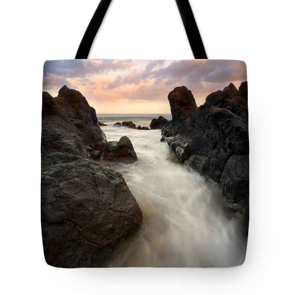 Sunrise Tote Bag featuring the photograph Primordial Tides by Mike Dawson