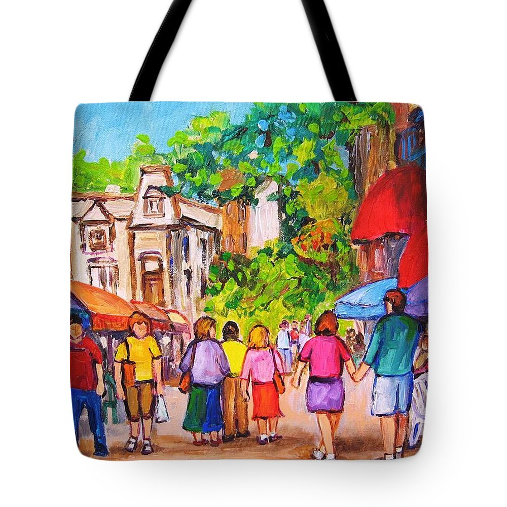 Rue Prince Arthur Montreal Street Scenes Tote Bag featuring the painting Prince Arthur Street Montreal by Carole Spandau