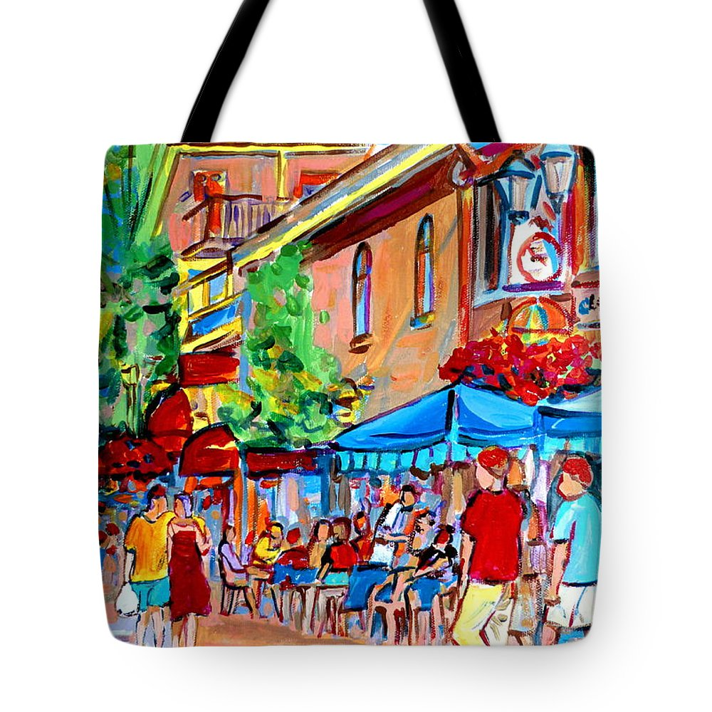 Cafes Tote Bag featuring the painting Prince Arthur Street Summer by Carole Spandau