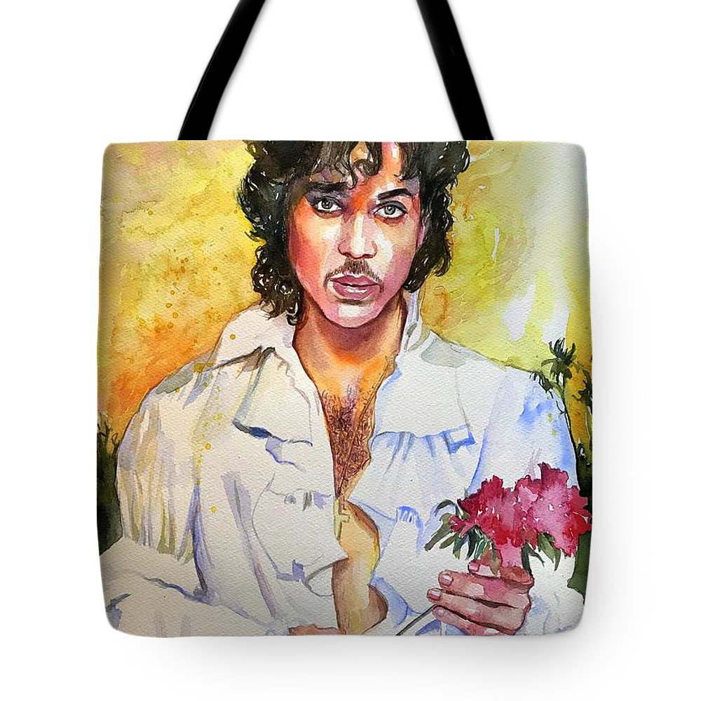 Prince Tote Bag featuring the painting Prince Rogers Nelson Holding A Rose by Suzann's Art