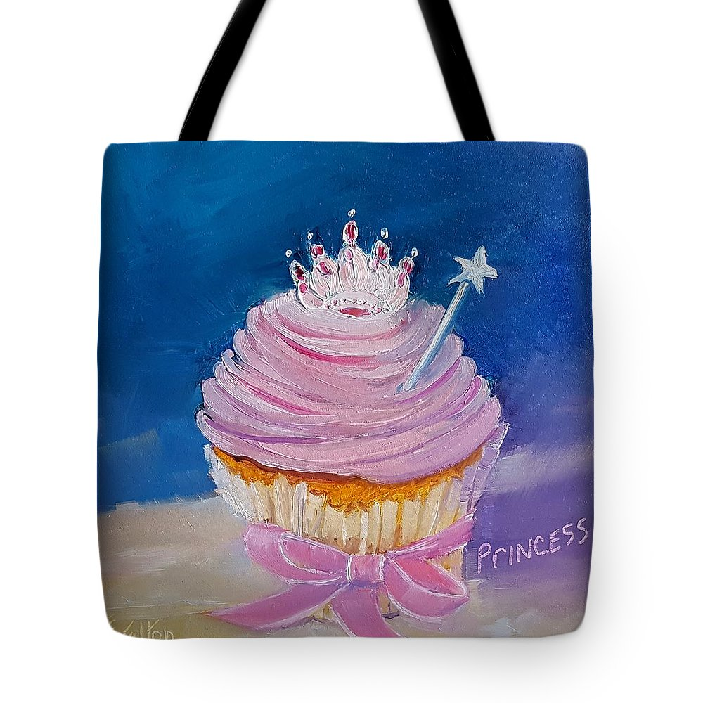 Princess Cupcake Tote Bag featuring the painting Princess Cupcake by Judy Fischer Walton
