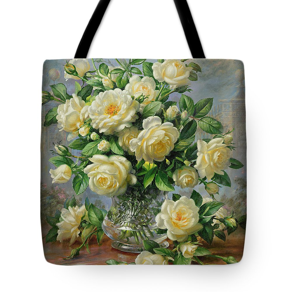 In Honour Of Lady Diana Spencer (1961-97); Still Life; Flower; Rose; Arrangement; Princess Of Wales (1981-96); Homage; Yellow; Flowers; Leafs Tote Bag featuring the painting Princess Diana Roses In A Cut Glass Vase by Albert Williams