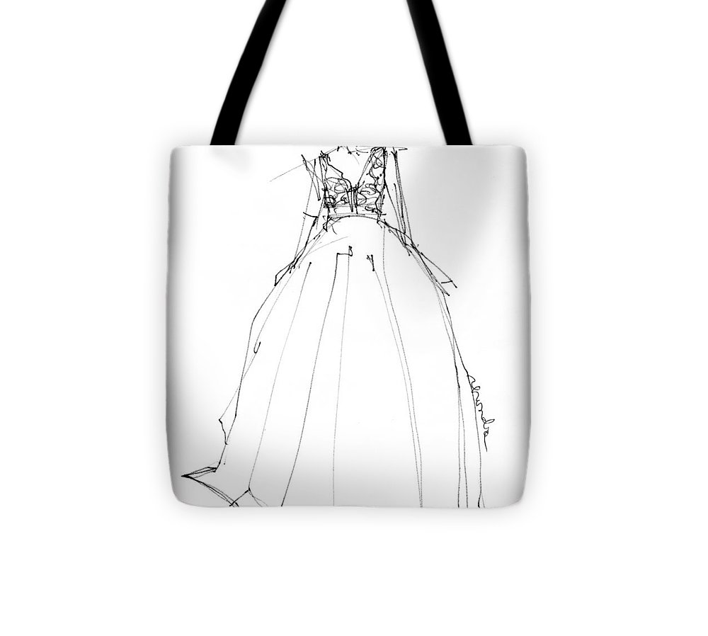 Wedding Dress Sketch Drawings Tote Bag featuring the drawing Princess Gown by Rhonda Corley