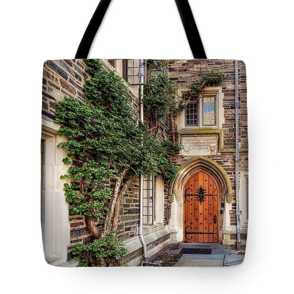 Princeton University Tote Bag featuring the photograph Princeton University Foulke Hall II by Susan Candelario