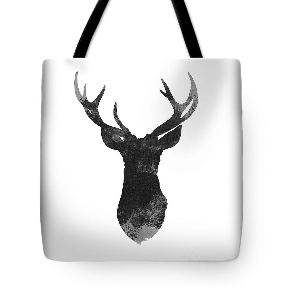 Prints Tote Bag featuring the painting Gray Deer Art, Print Gift Idea, Deer Head Illustration, Gray Deer Art by Joanna Szmerdt