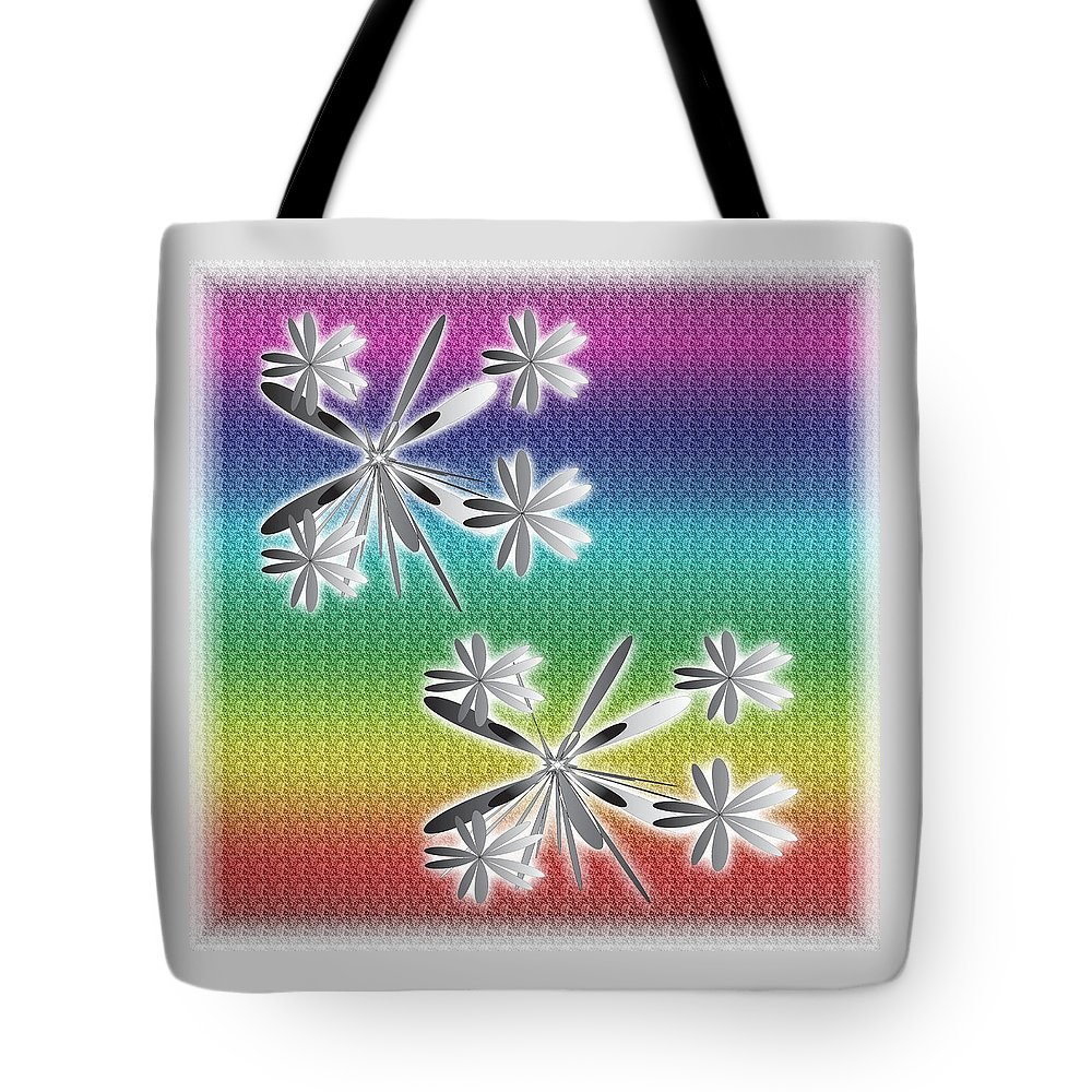 Abstract Tote Bag featuring the digital art Printemps by Iris Gelbart