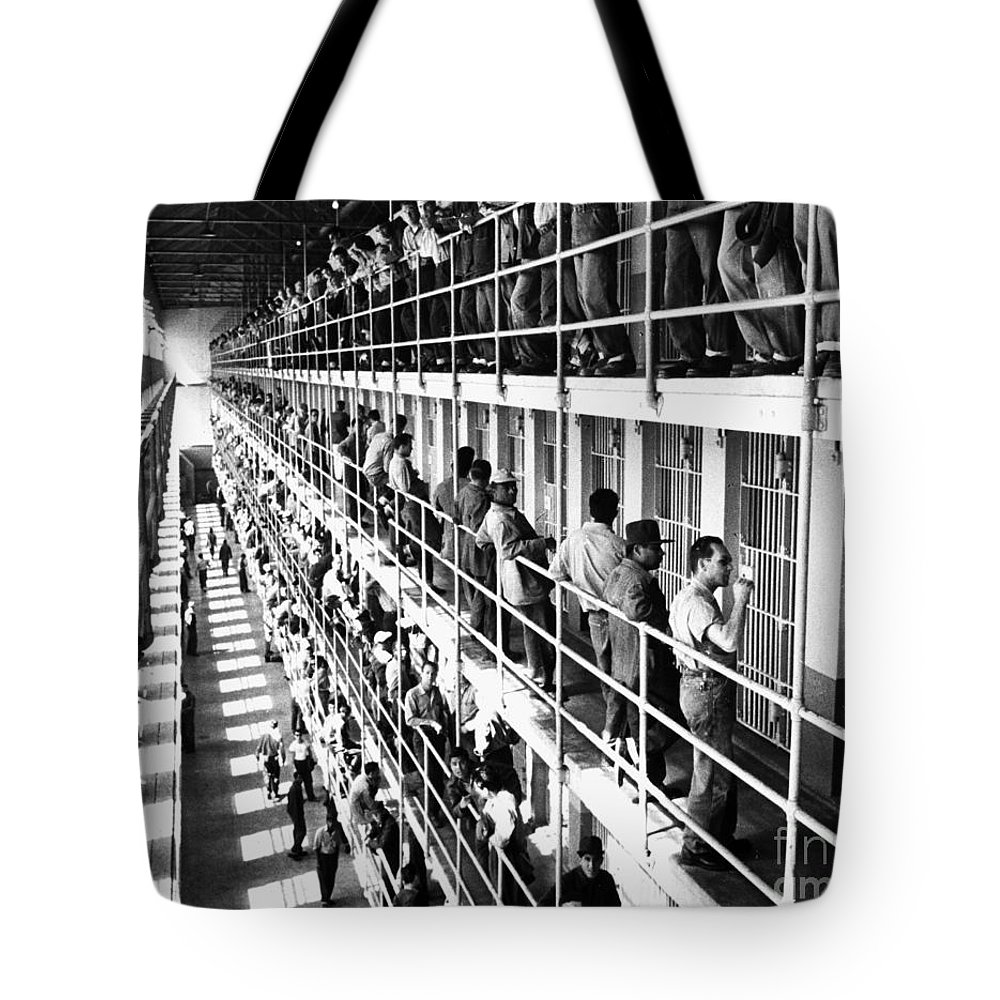 1954 Tote Bag featuring the photograph Prison: San Quentin, 1954 by Granger