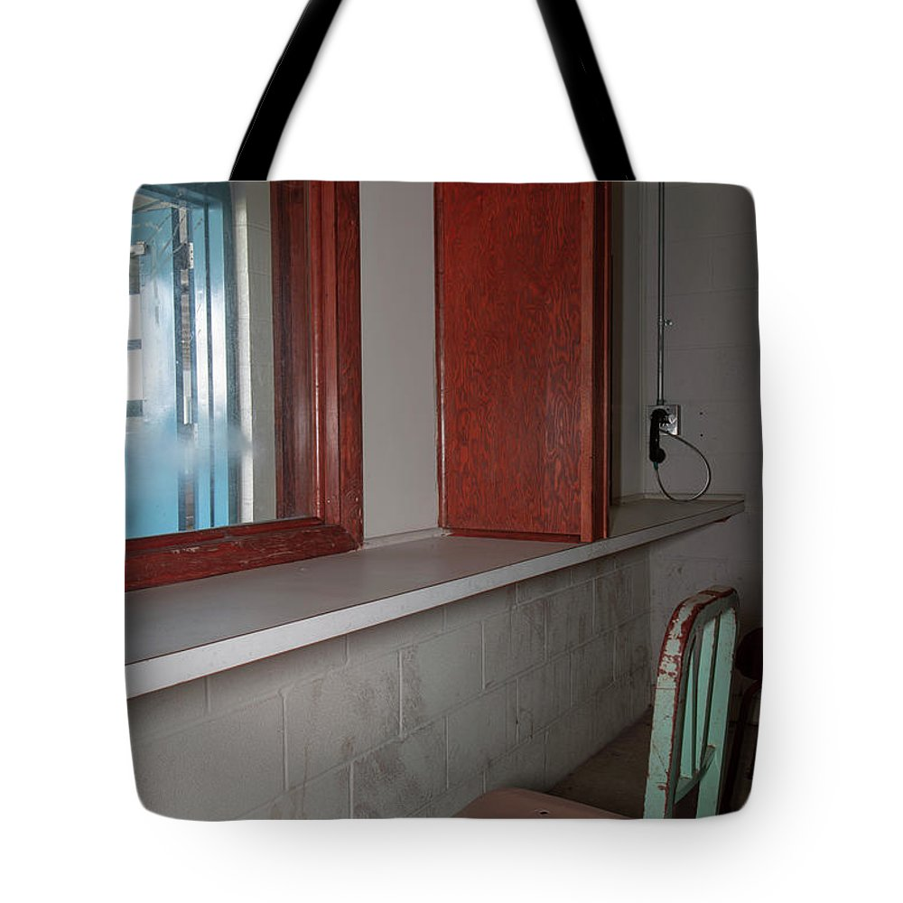 Abandoned Tote Bag featuring the photograph Prison Visitation Phones by Karen Foley