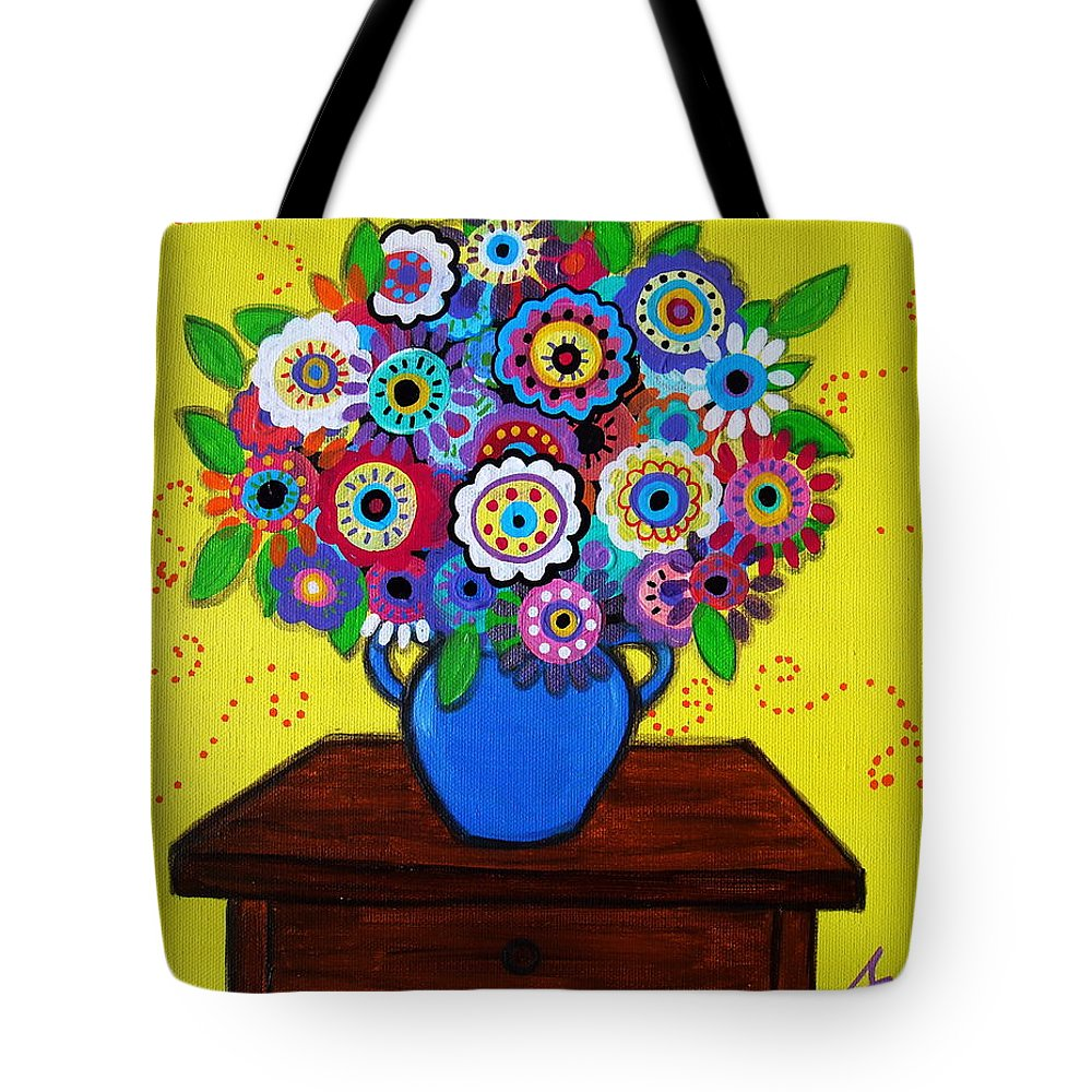 Florals Tote Bag featuring the painting Pristine Blooms Iv by Pristine Cartera Turkus