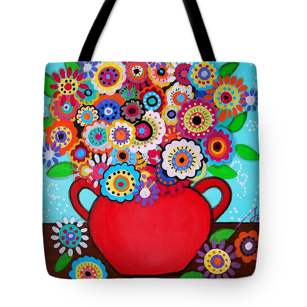 Florals Tote Bag featuring the painting Pristine Blooms Vi by Pristine Cartera Turkus