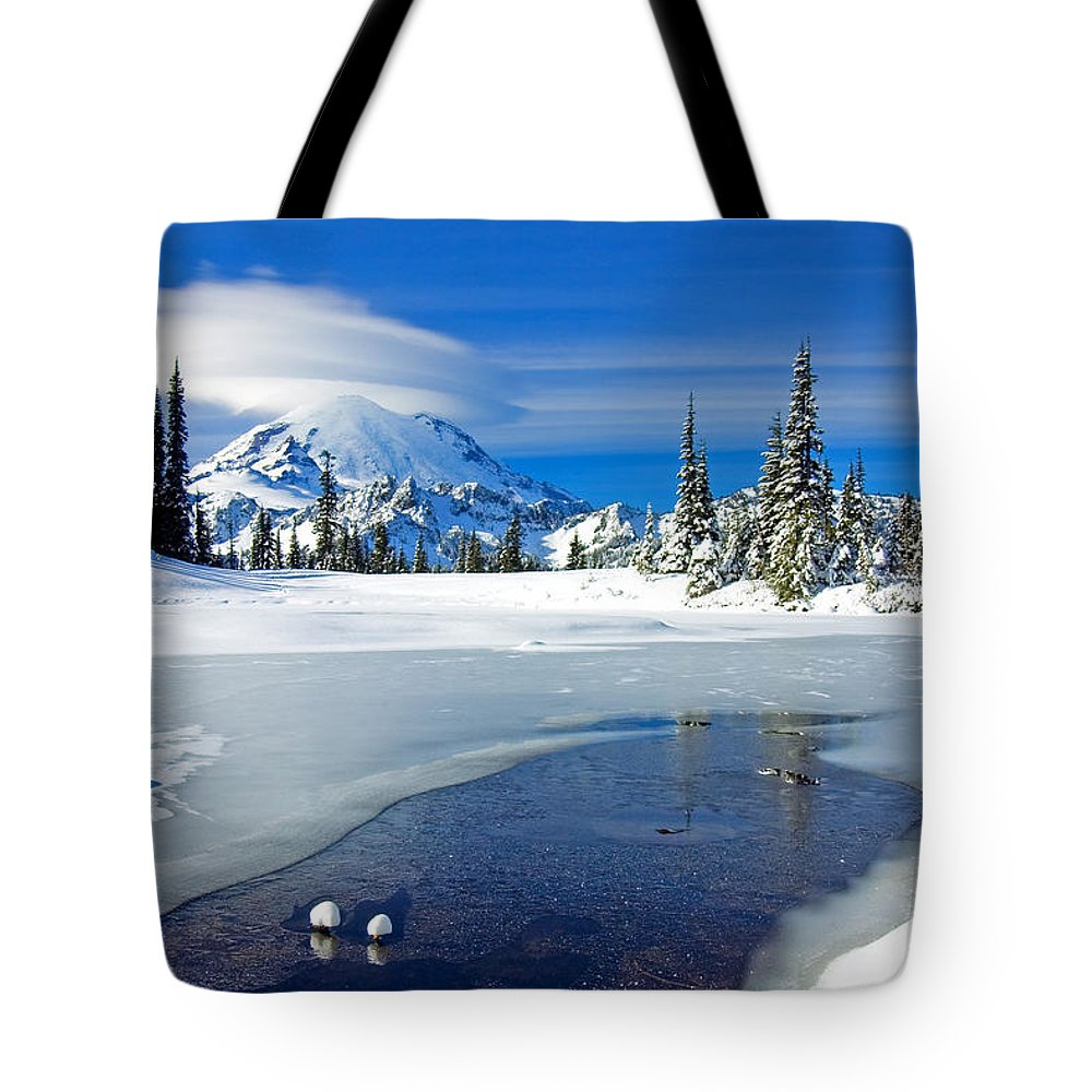 Rainier Tote Bag featuring the photograph Pristine by Mike Dawson