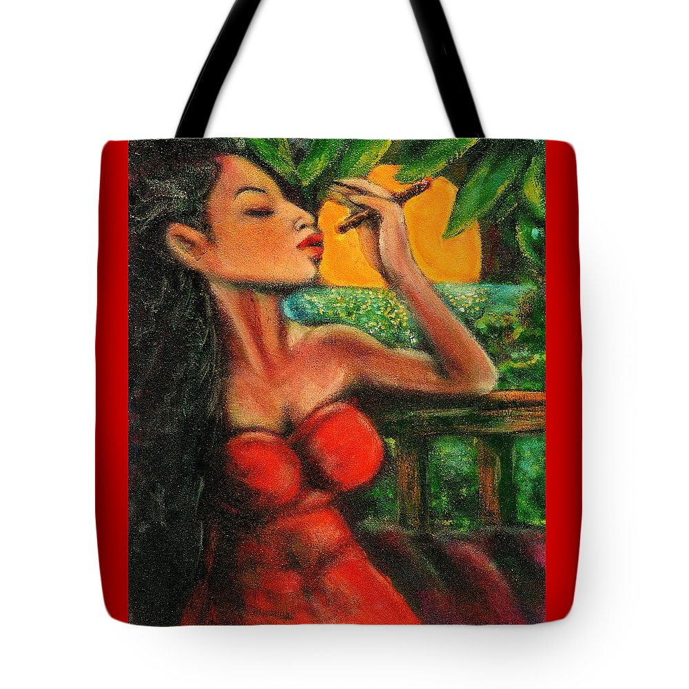 Cigars Tote Bag featuring the painting Private Celebration by Dennis Tawes