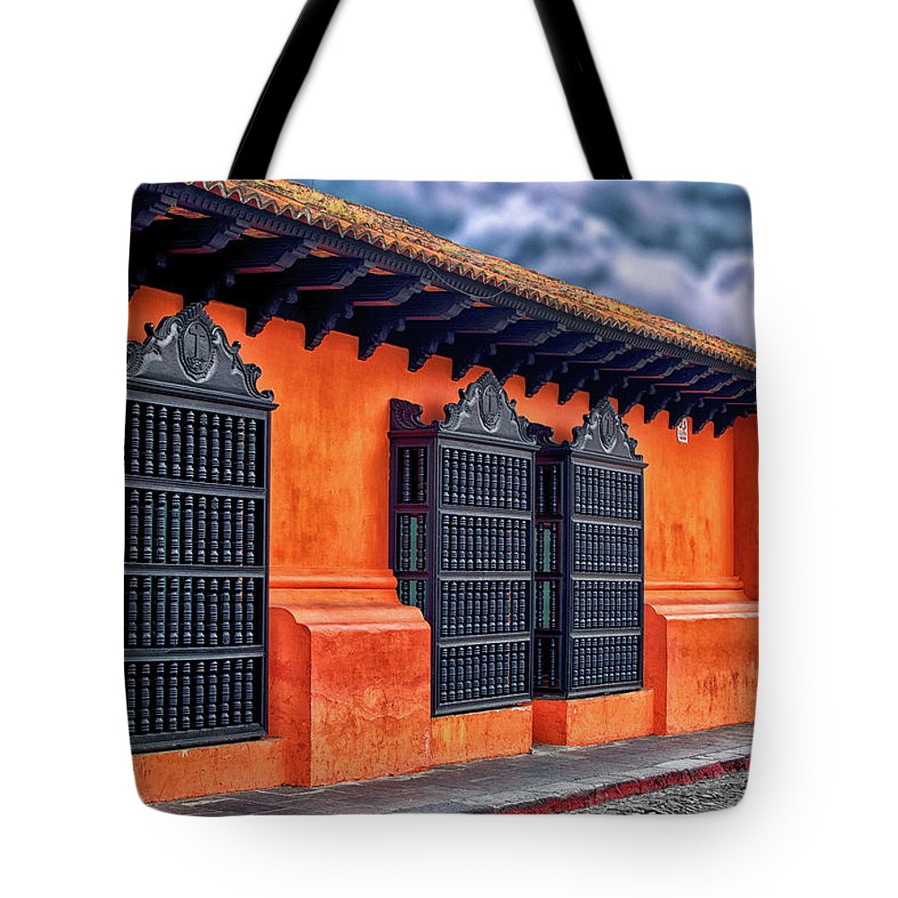 Orange Tote Bag featuring the photograph Private House Antigua Guatemala - Guatemala by Totto Ponce