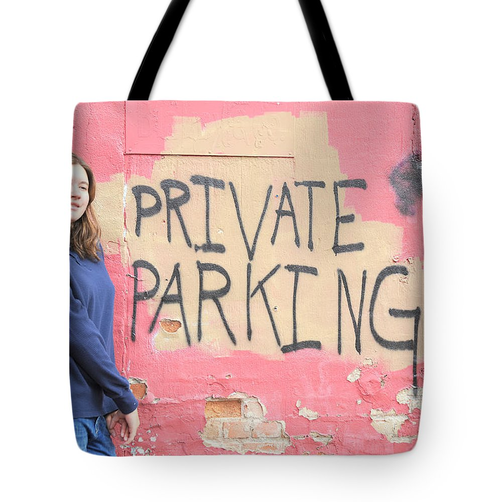 Female Tote Bag featuring the photograph Private Parking. by Oscar Williams