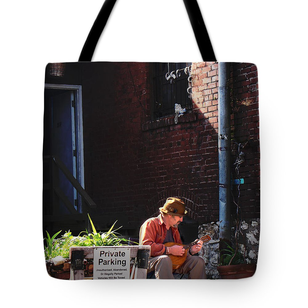 City Scape Tote Bag featuring the photograph Private Parking by Steve Karol