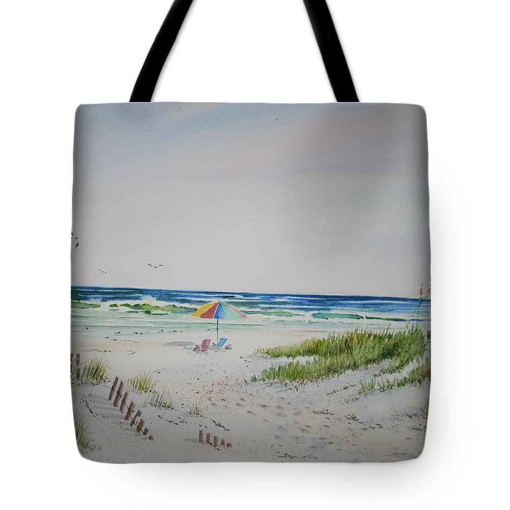 Sea Scape Tote Bag featuring the painting Private Spot by Tom Harris