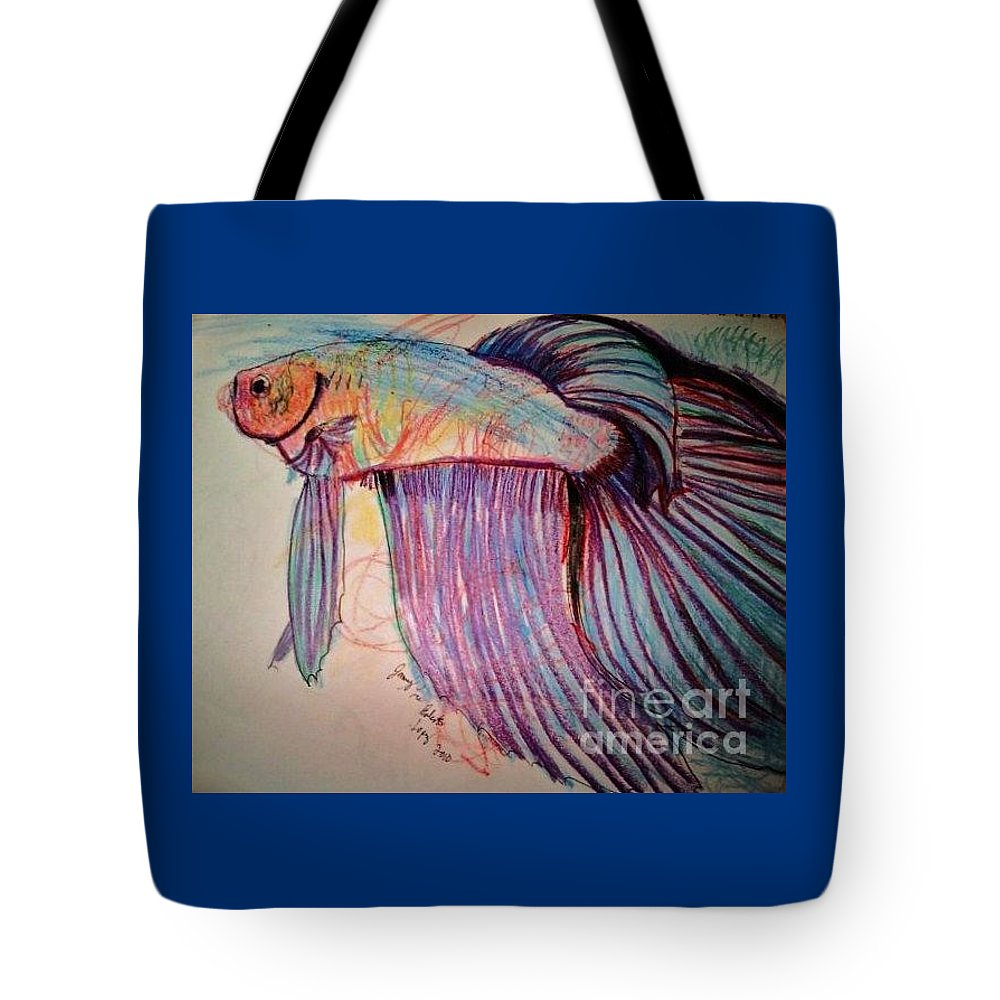 Betta Drawing Tote Bag featuring the drawing Prize Betta by Jamey Balester