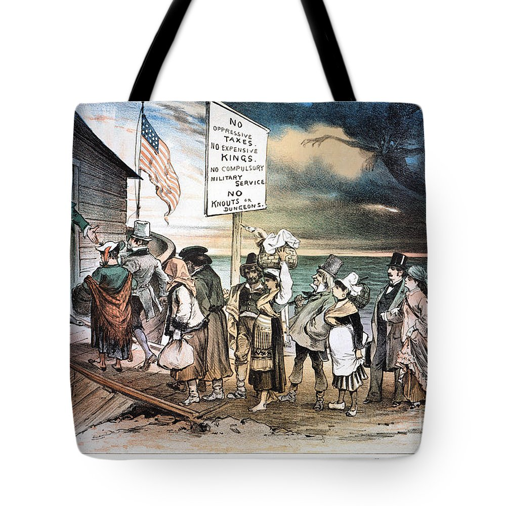 1880 Tote Bag featuring the photograph Pro-immigration Cartoon by Granger
