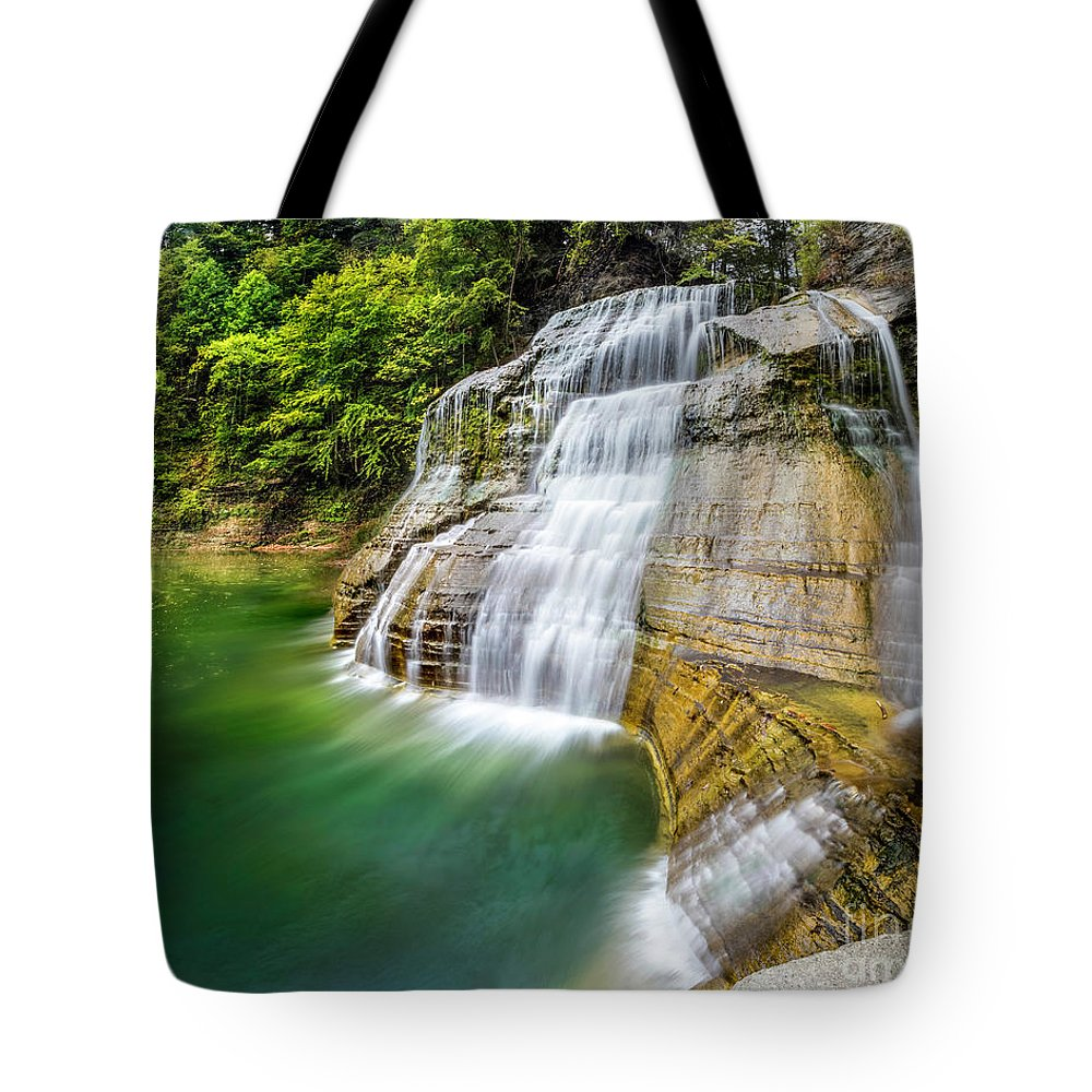 New York Tote Bag featuring the photograph Profile Of The Lower Falls At Enfield Glen by Karen Jorstad