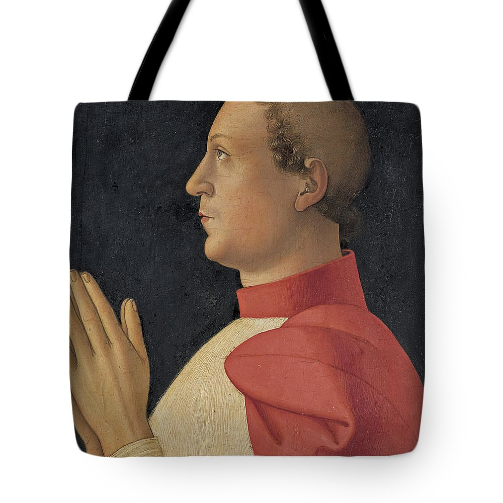 Antoniazzo Romano Tote Bag featuring the painting Profile Portrait Of Cardinal Philippe De Levis by Antoniazzo Romano