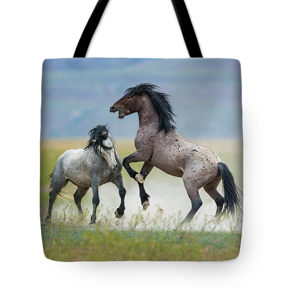Mustangs Tote Bag featuring the photograph Prolonged Fight 5 by Greig Huggins
