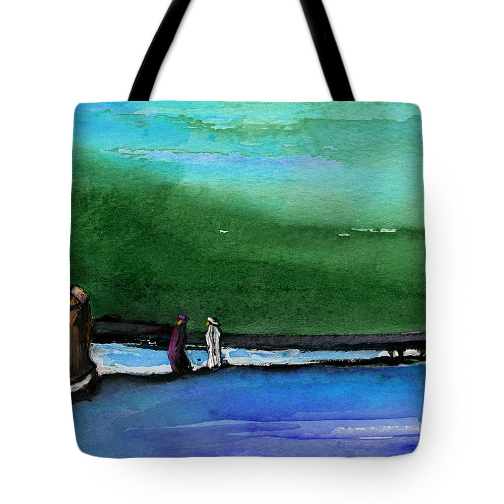 Landscapes Tote Bag featuring the painting Promenade by Miki De Goodaboom