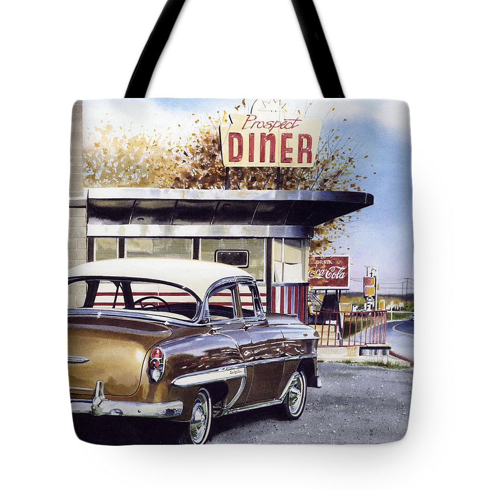 Diner Tote Bag featuring the painting Prospect Diner by Denny Bond