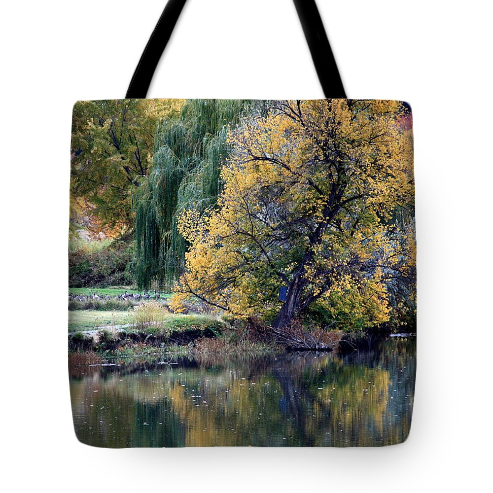 Fall Tote Bag featuring the photograph Prosser - Autumn Reflection With Geese by Carol Groenen