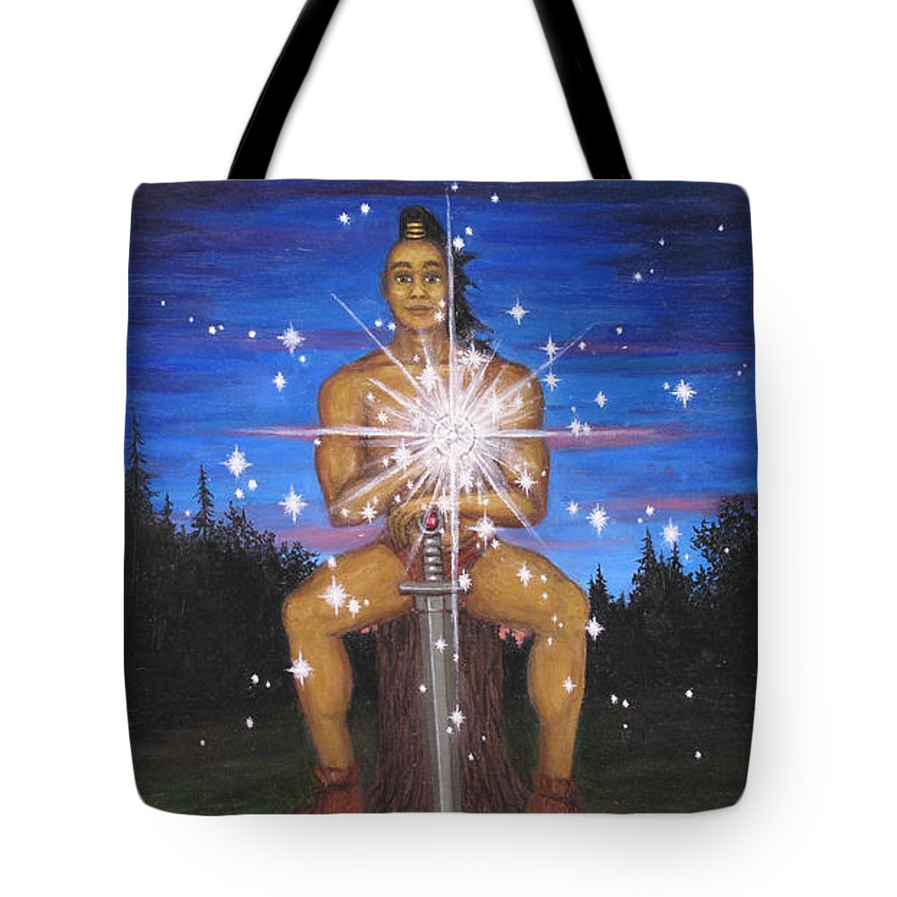 Fantasy Tote Bag featuring the painting Protector Of The Mystical Forest by Roz Eve