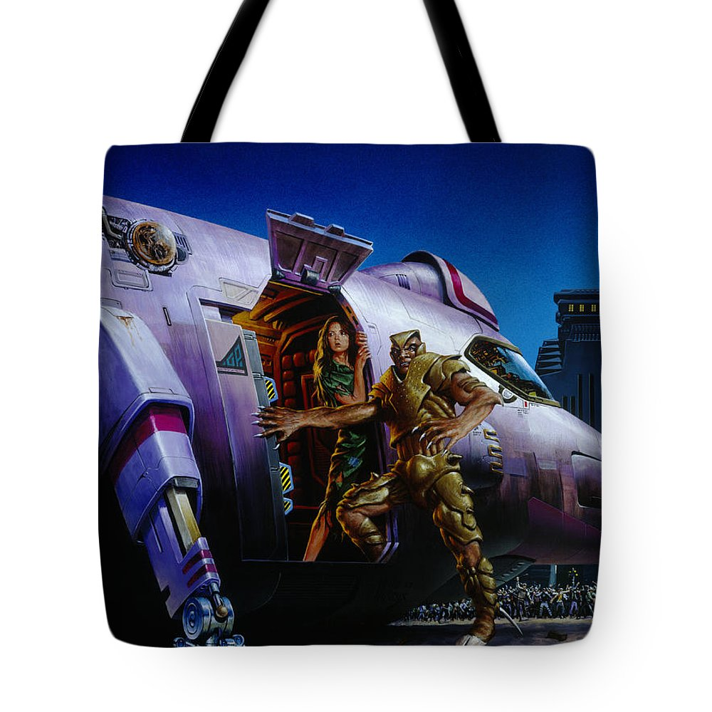 Space Tote Bag featuring the painting Protector by Richard Hescox