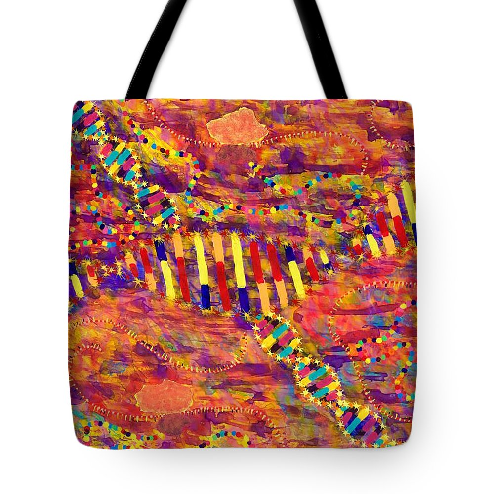 Acrylic Tote Bag featuring the painting Protein Synthesis 15-19 by Patrick OLeary