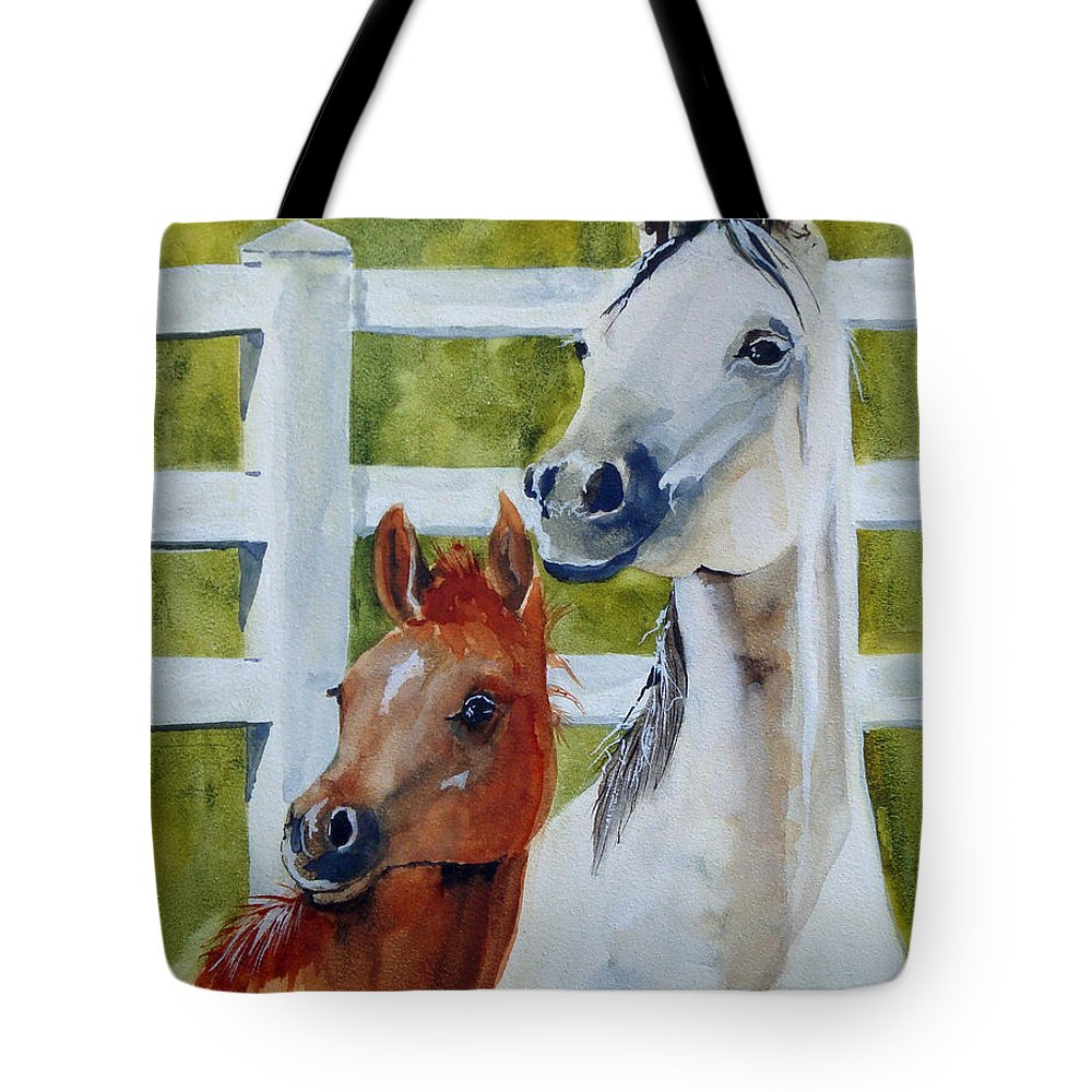 Equine Tote Bag featuring the painting Proud Mama by Jean Blackmer