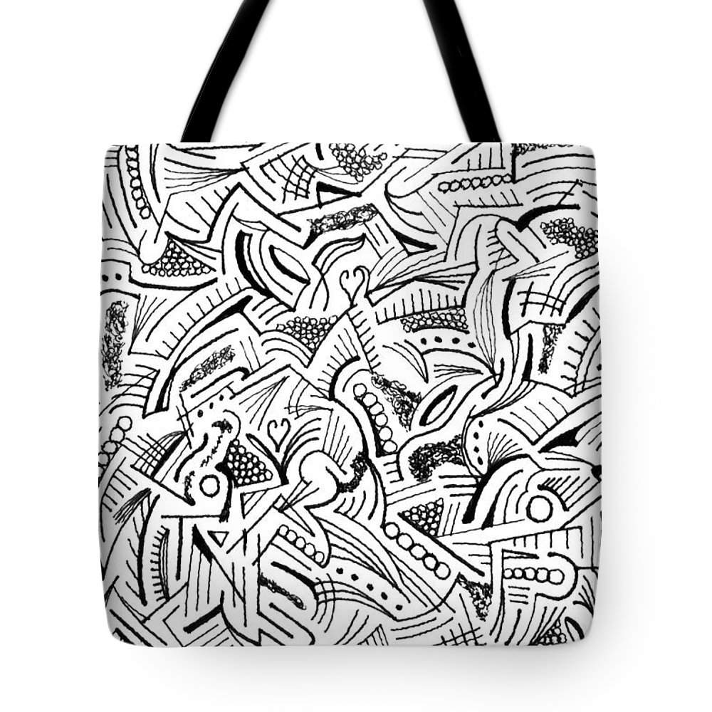 Mazes Tote Bag featuring the drawing Provenance by Steven Natanson