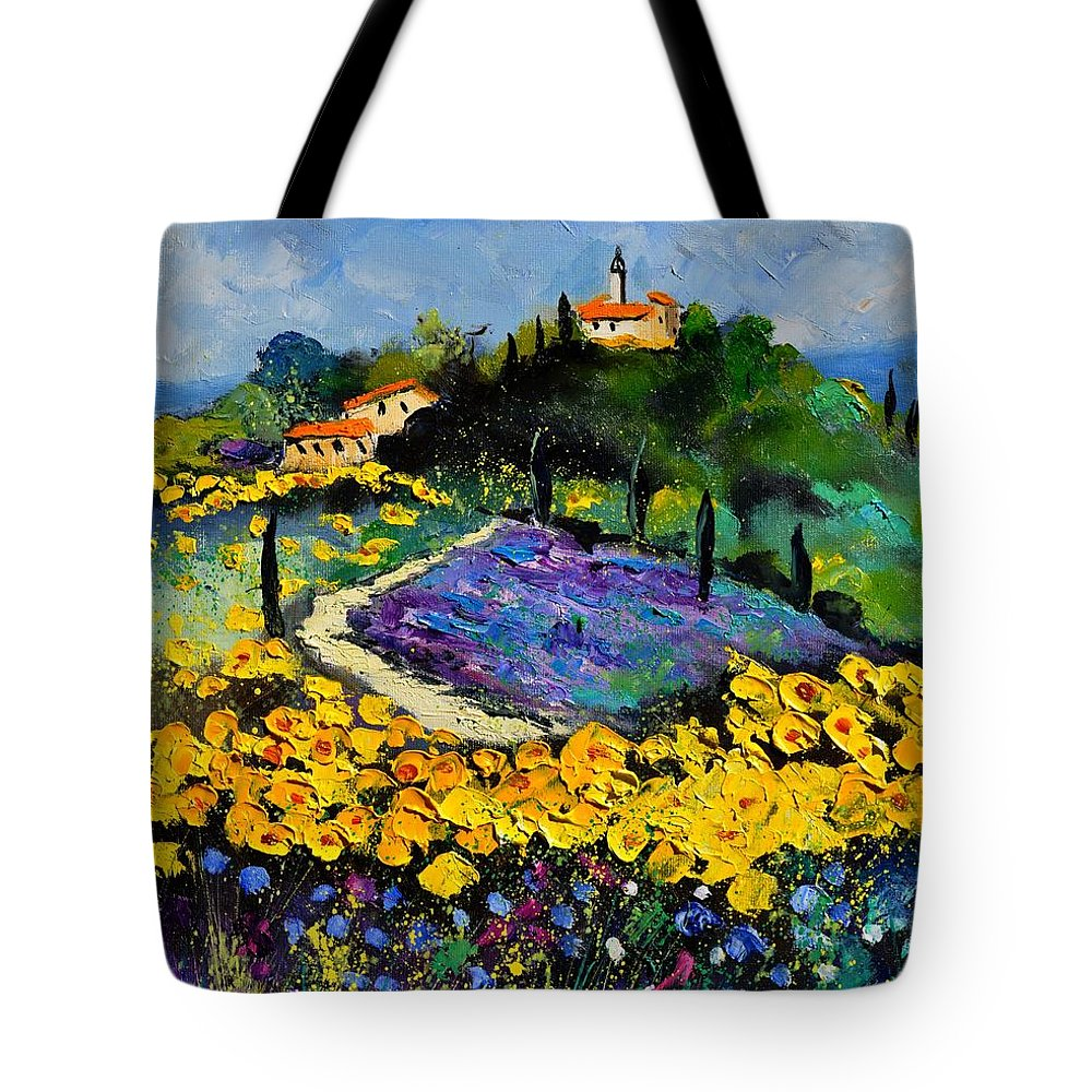 Landscape Tote Bag featuring the painting Provence 561140 by Pol Ledent