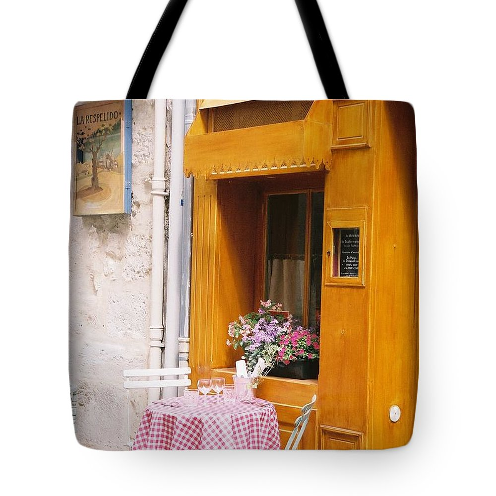 Cafe Tote Bag featuring the photograph Provence Cafe by Nadine Rippelmeyer