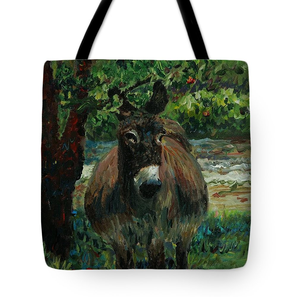 Donkey Tote Bag featuring the painting Provence Donkey by Nadine Rippelmeyer