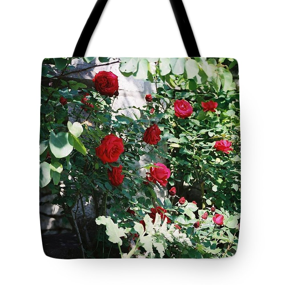 Floral Tote Bag featuring the photograph Provence Red Roses by Nadine Rippelmeyer
