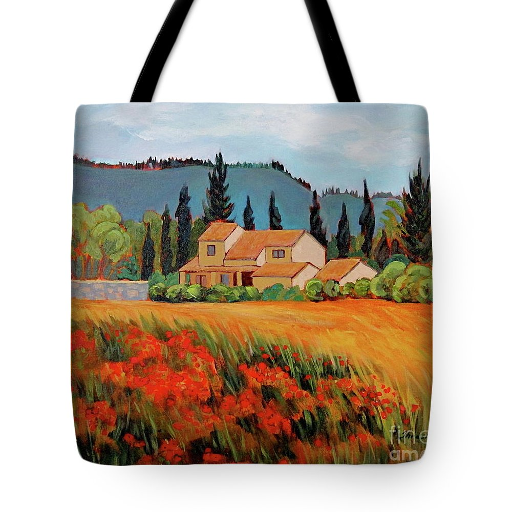 France Countryside Tote Bag featuring the painting Provence Villa by Dawn Thrasher