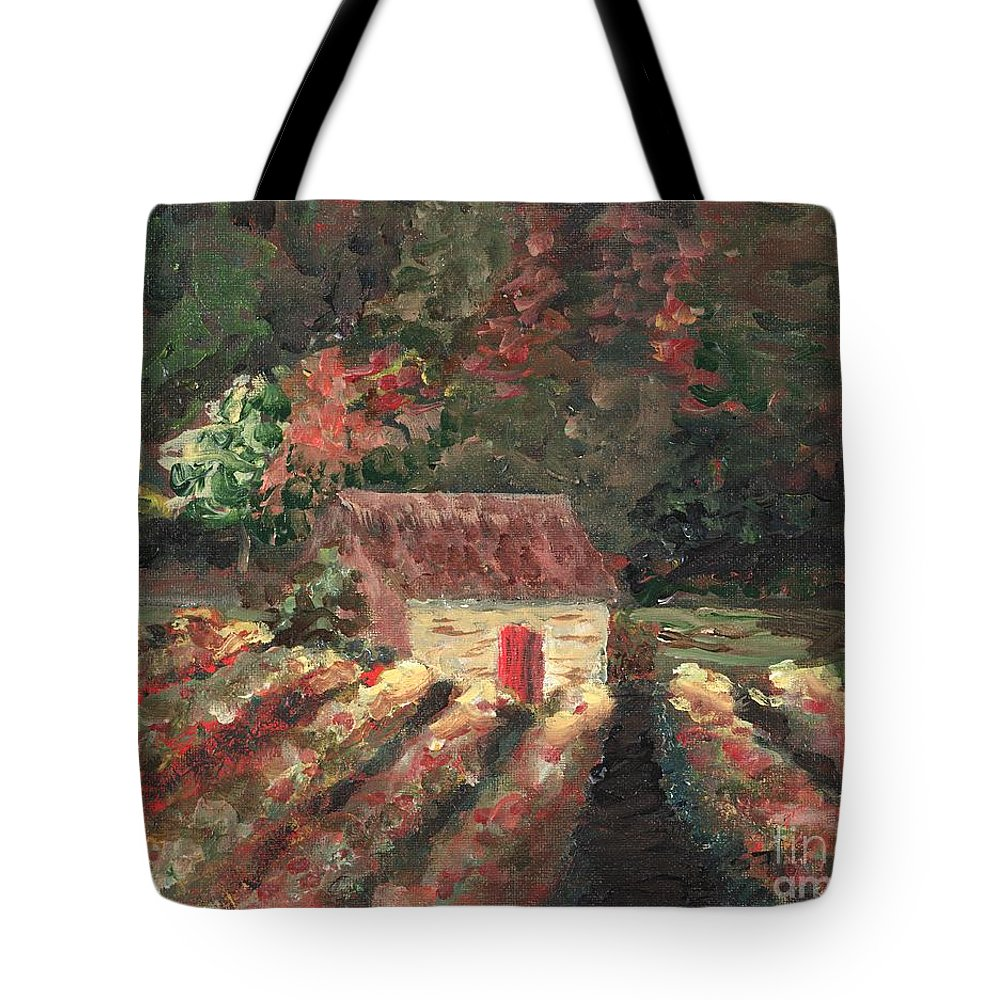 Landscape Tote Bag featuring the painting Provence Vineyard by Nadine Rippelmeyer