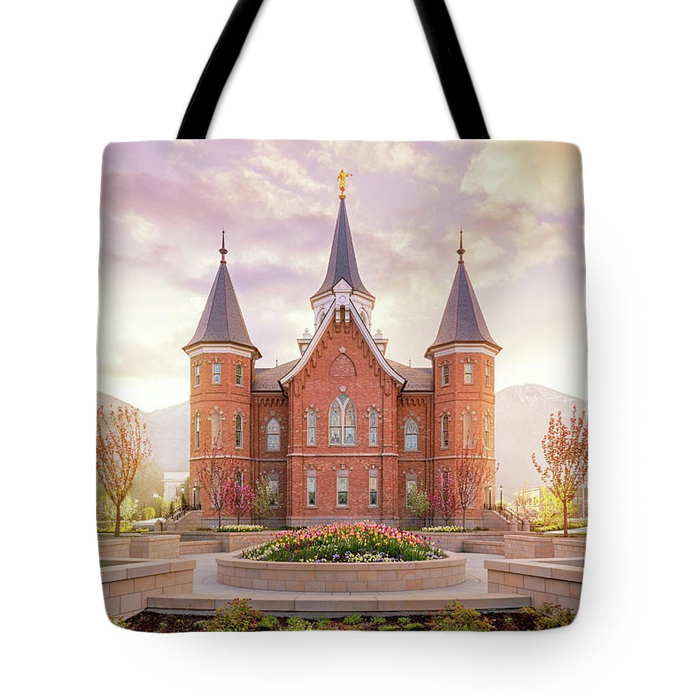 Provo City Center Utah Temple Tote Bag featuring the photograph Provo City Center Temple Dawn by Tausha Schumann