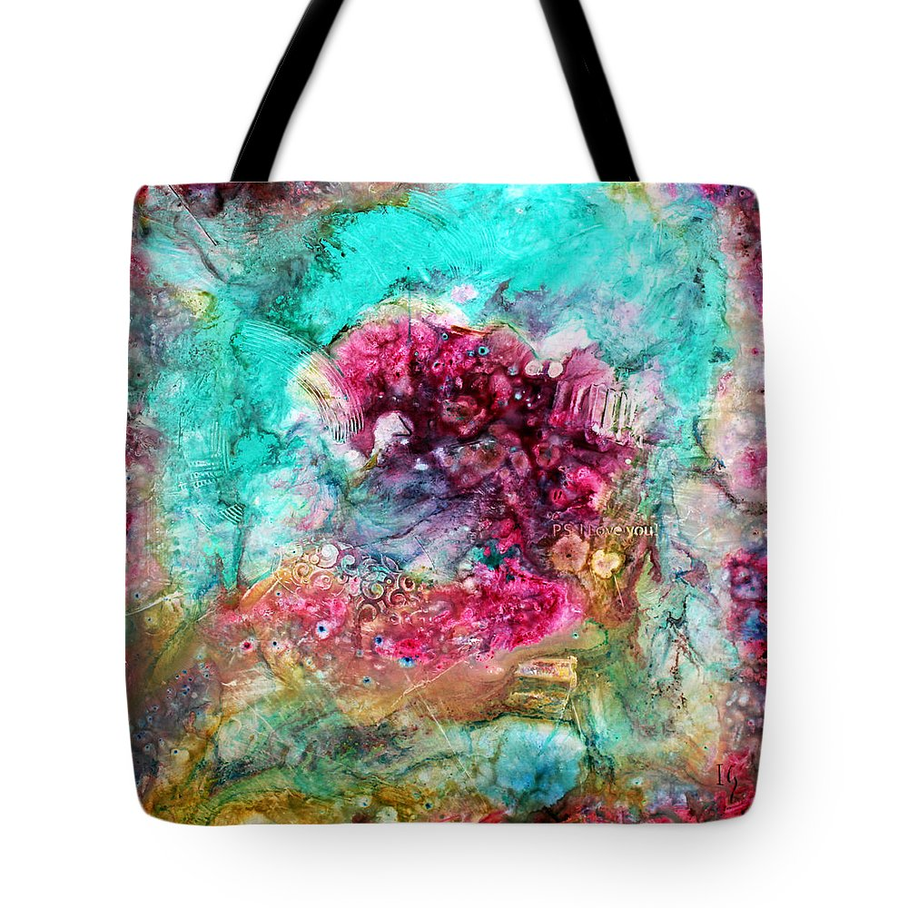 Abstract Tote Bag featuring the painting Ps I Love You by Ivan Guaderrama