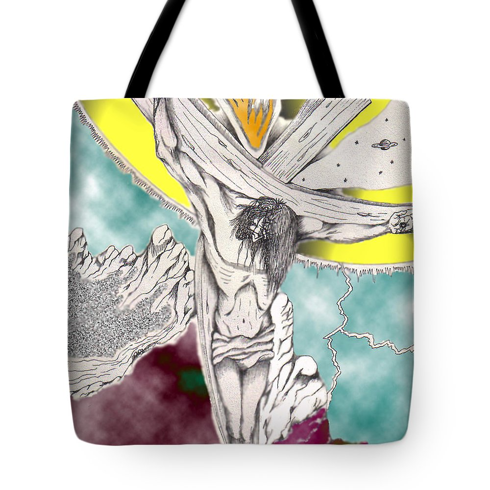 Spiritual Tote Bag featuring the digital art Psalm 22 Ch 13-15... by Marco Morales