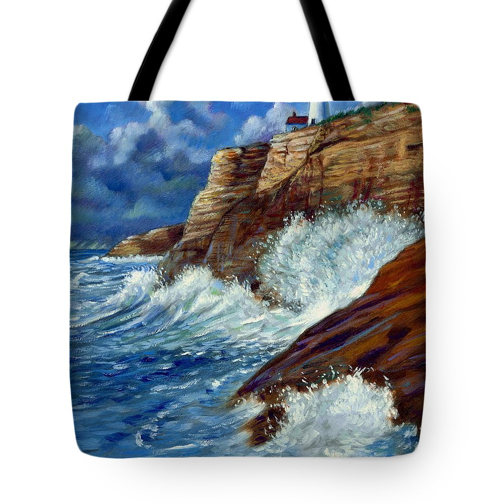 Lighthouse Tote Bag featuring the painting Psalm Forty Three-three by John Lautermilch