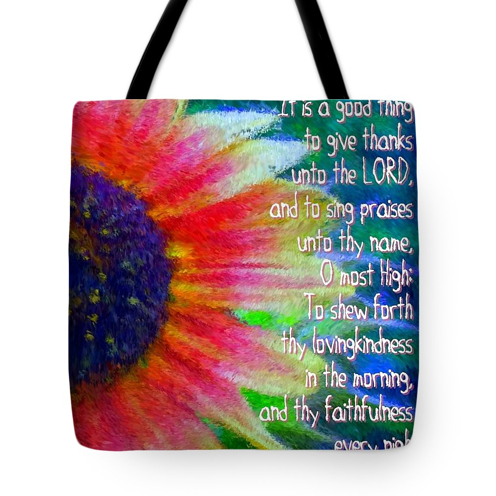 Jesus Tote Bag featuring the digital art Psalms 92 1 2 by Michelle Greene Wheeler