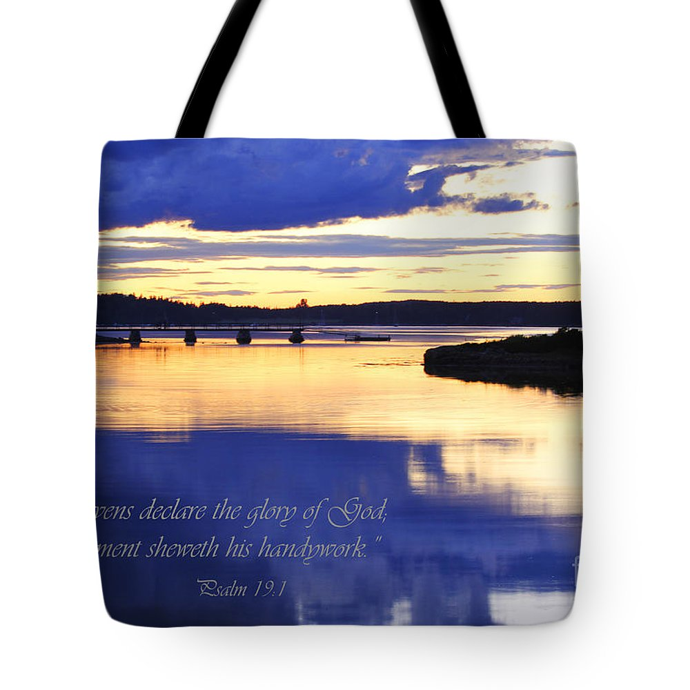Psalm 19:1 Tote Bag featuring the photograph Psalm Reflected At Acadia National Park Two by Katie W