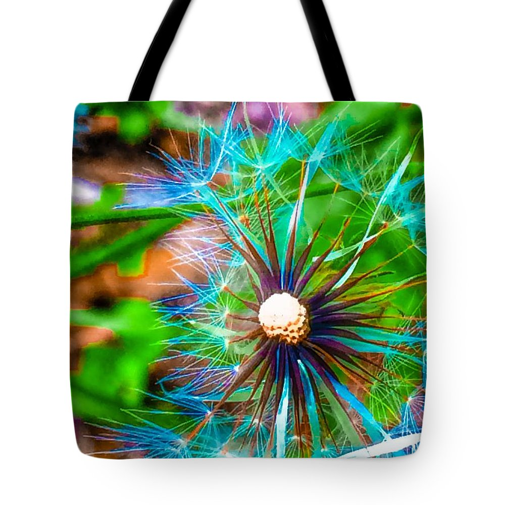 Tote Bag featuring the photograph Psychedelic Dandelion by Christine DuMouchel