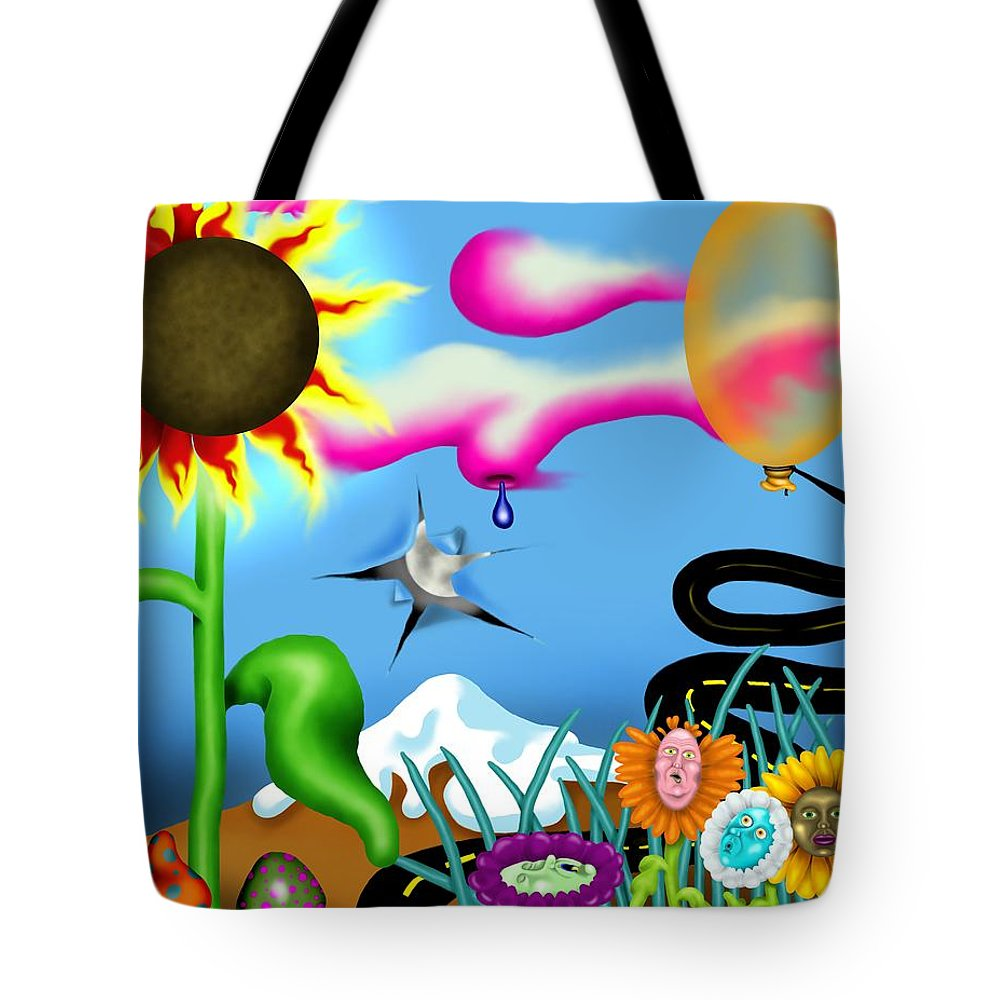 Surrealism Tote Bag featuring the digital art Psychedelic Dreamscape I by Robert Morin