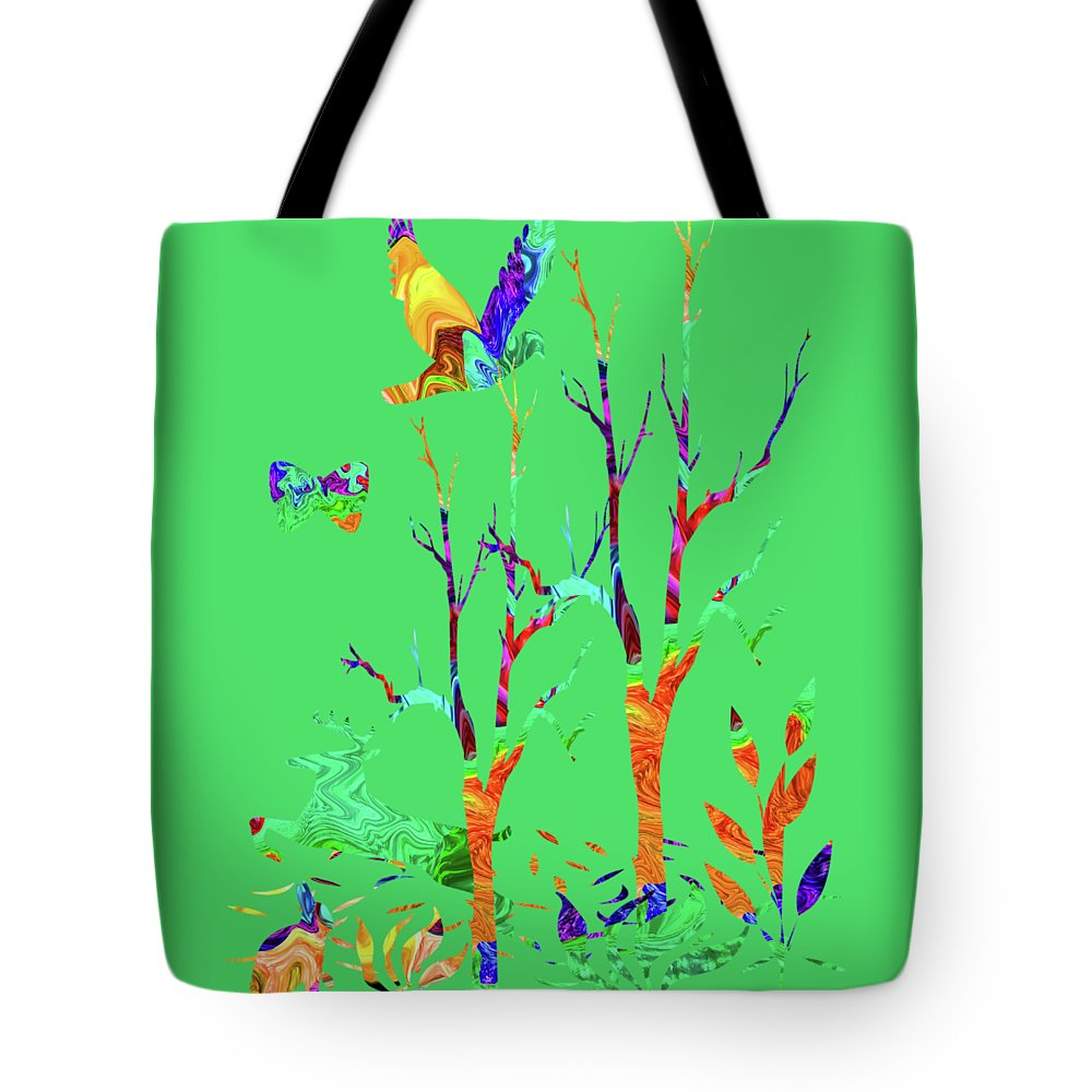 Abstract Tote Bag featuring the photograph Psychedelic Forest by Kathy Moll