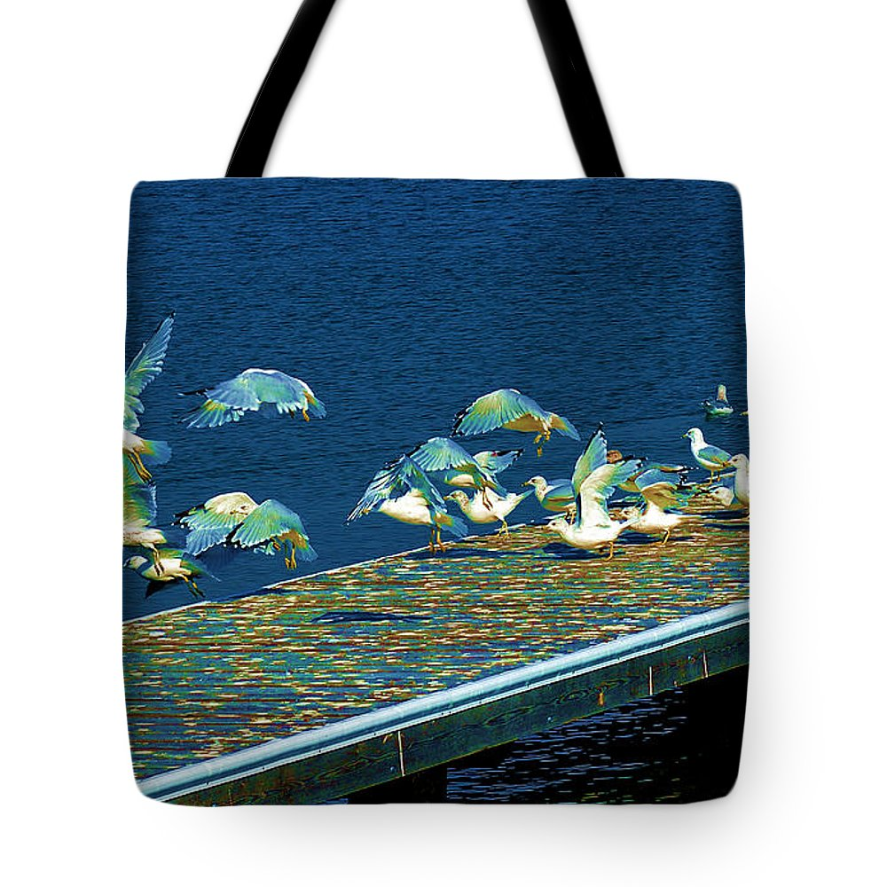 Wildlife Tote Bag featuring the digital art Psychedelic Gulls by Kae Cheatham