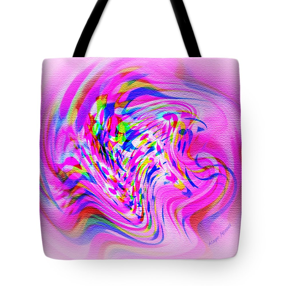 Digital Art Tote Bag featuring the digital art Psychedelic Swirls On Lollypop Pink by Kaye Menner
